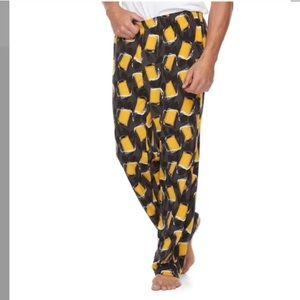 Men's beer patterned microfleece lounge pants